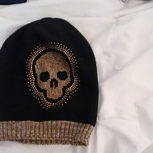 Black and Gold Skull Beanie